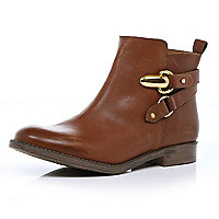 Brown strap ankle boots