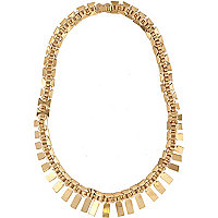 Gold tone flat chain statement necklace