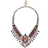 Purple statement gem stone short necklace