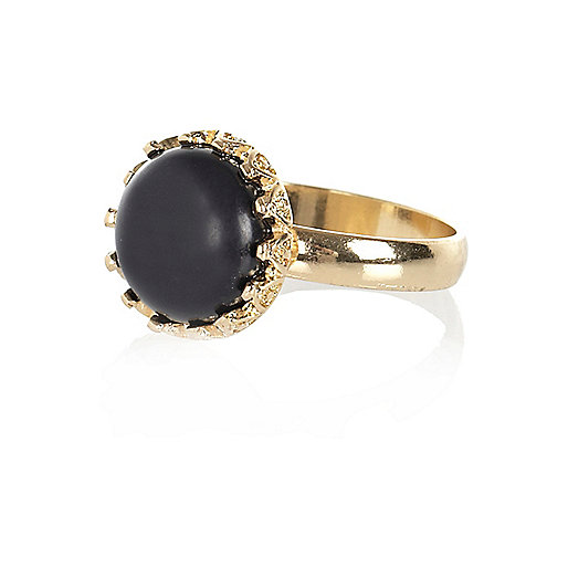 Black small black gem stone ring