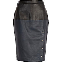 Blue Eudon Choi two-tone leather skirt
