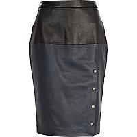 Blue Eudon Choi two-tone leather skirt