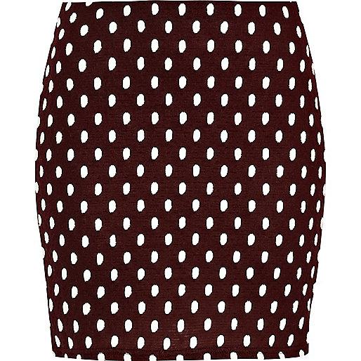 Red polka dot mini skirt