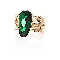 Green gem stone leaf cuff bracelet