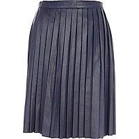 Blue Eudon Choi pleated leather skirt