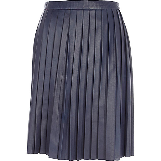 Blue Eudon Choi pleated leather skirt