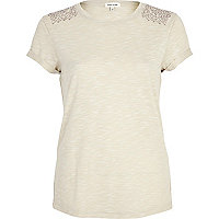 Beige heatseal shoulder t-shirt