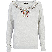 Cream necklace embellished sweatshirt