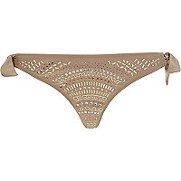 Gold heat seal tie side bikini bottoms