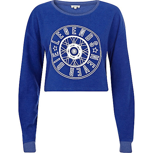 Navy legends never die cropped sweatshirt