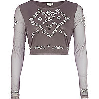 Grey mesh embellished crop top