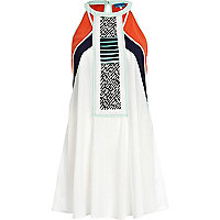 White colour block racer front dress