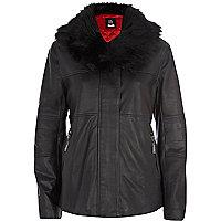Navy Eudon Choi leather jacket
