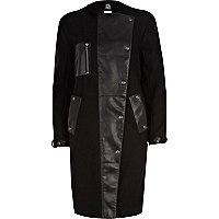 Black Eudon Choi leather panel coat