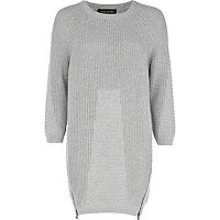 Grey geometric pattern jumper dress