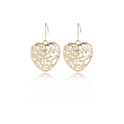 Gold tone filigree heart drop earrings
