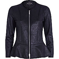 Black embossed peplum jacket