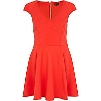 Red cap sleeve skater dress