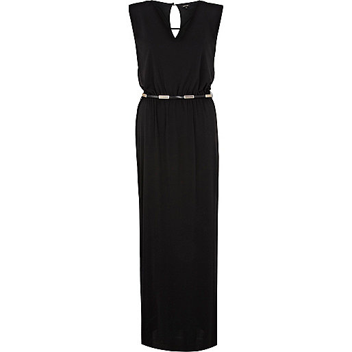 Black V neck belted maxi dress