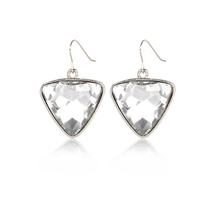Silver tone triangle gem drop earrings