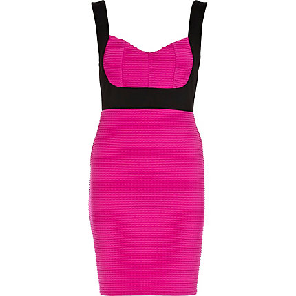 Pink textured two-tone bodycon dress