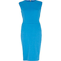 Blue cap sleeve structured bodycon dress
