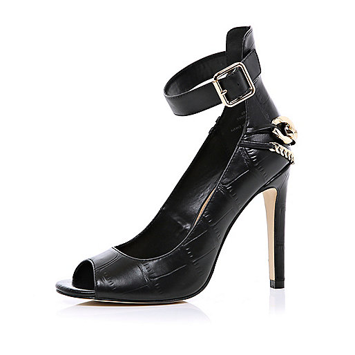 Black croc chain back peep toe stilettos
