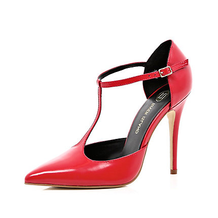 Red T bar pointed stilettos
