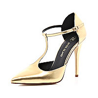 Gold T bar pointed stilettos