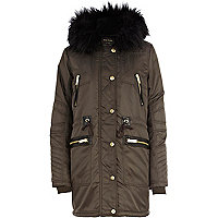 Grey faux fur lined padded parka jacket