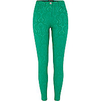 Green jacquard skinny trousers