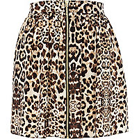 Brown leopard print zip through skater skirt