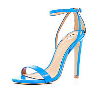 Blue barely there stiletto sandals