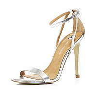 Silver barely there stiletto sandals