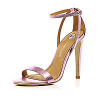 Pink metallic barely there stiletto sandals