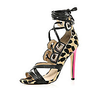 Brown leopard print contrast heel sandals
