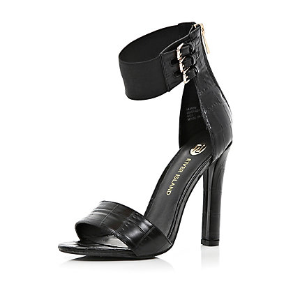 Black snake barely there sandals