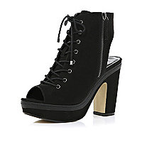 Black lace up cut out platform ankle boots