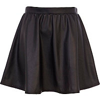 Black coated full skater skirt