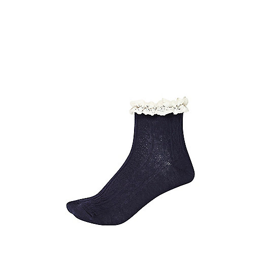 Navy cable knit frilly ankle socks