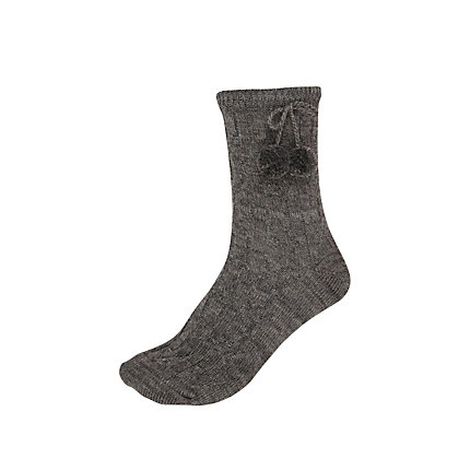 Dark grey cable rib pom pom ankle socks