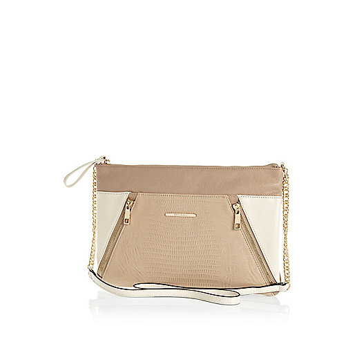 Beige colour block zip panel cross body bag
