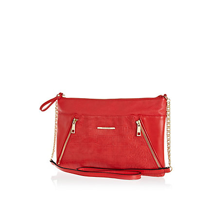 Red zip panel cross body bag