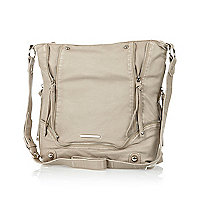 Light beige zip trim messenger bag