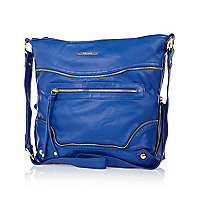 Blue zip trim messenger bag