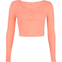 Pink rib long sleeve crop top