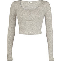 Grey marl rib long sleeve crop top