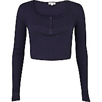 Navy blue rib long sleeve crop top