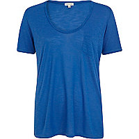 Blue marl low scoop t-shirt