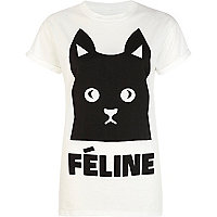 White feline cat print t-shirt